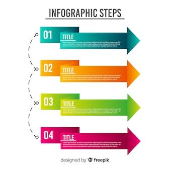 Flat arrow infographic steps