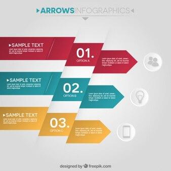 Piatto freccia infografica in tre colori
