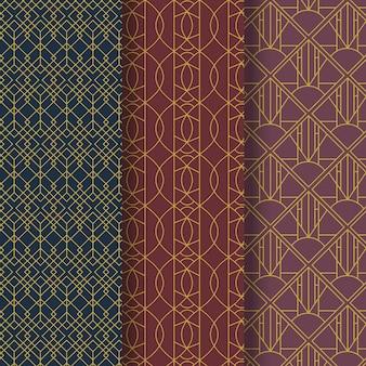 플랫 아트 데코 패턴 컬렉션