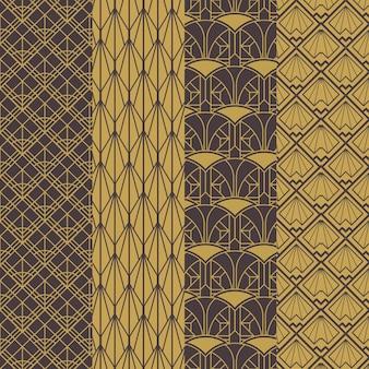 Коллекция плоских узоров в стиле арт-деко