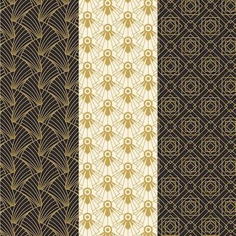 Collezione di design pattern art deco piatto