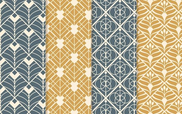 Flat art deco pattern design collection