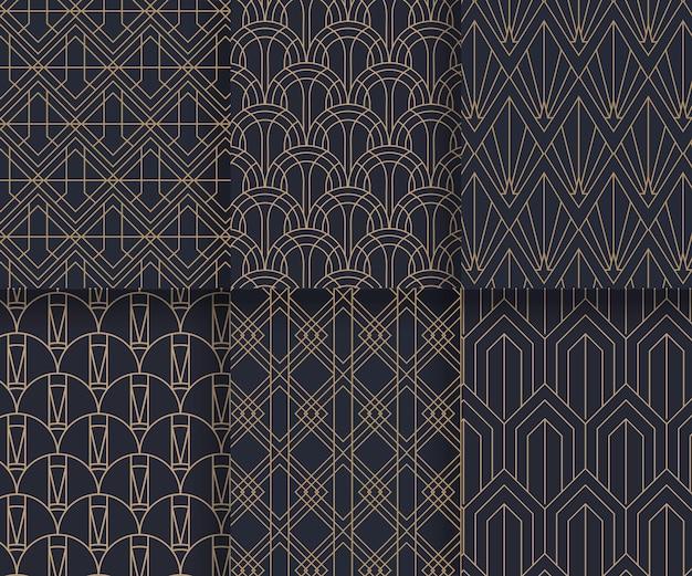 Коллекция плоских дизайнов в стиле арт-деко