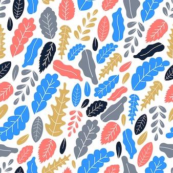 Плоские листья искусства бесшовные модели вектор