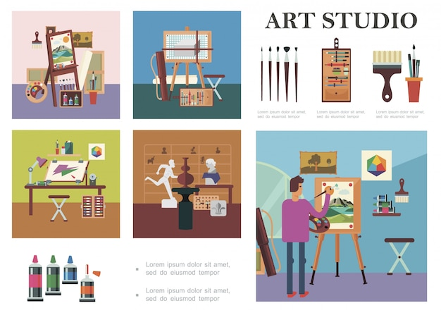 Flat art studio elements composition with man drawing picture artist workplace sculptures different professional painting tools and equipment