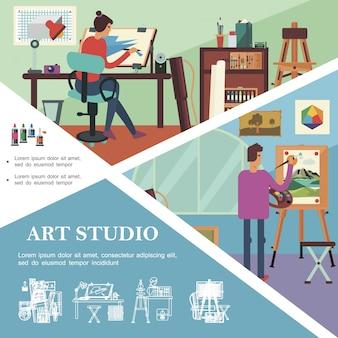 Плоский арт-шаблон студии с работающими художниками и графическими дизайнерами, профессиональными рабочими местами и оборудованием