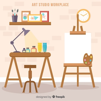 Flat art studio workplace illustration