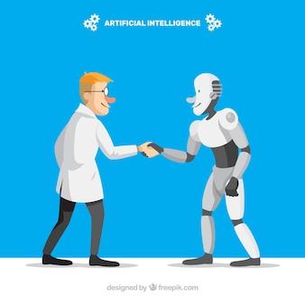 Flat artificial intelligence background Premium Vector