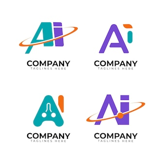 Flat artificial intelligence logo collection