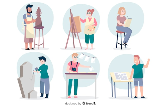 Плоские художники на работе коллекции