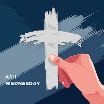 Flat ash wednesday illustration