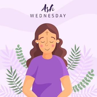 Flat ash wednesday illustration
