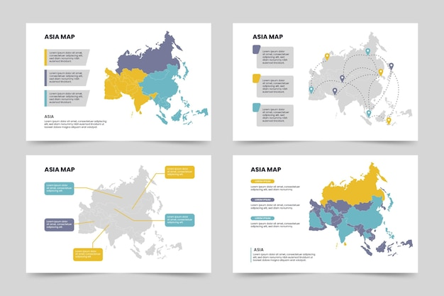 Piatto asia mappa infografica