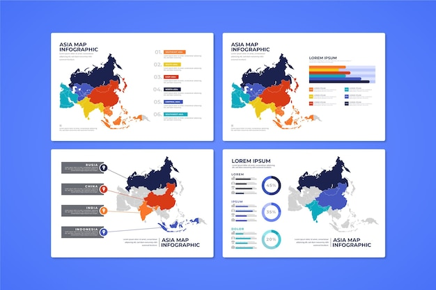Flat asia map infographic