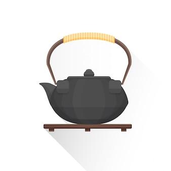 Flat asian tea iron kettle  icon