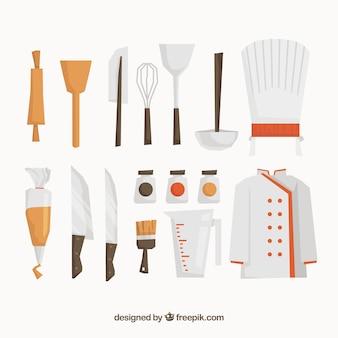 Flat assortment of chef elements