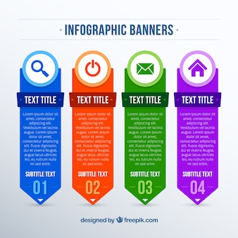 Flat assortment of colored infographic banners