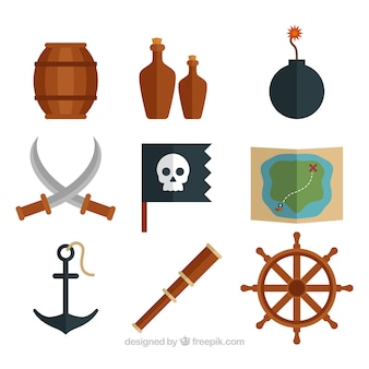 Flat assortment of pirate elements