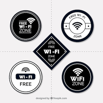 Flat assortment of white and black wifi stickers