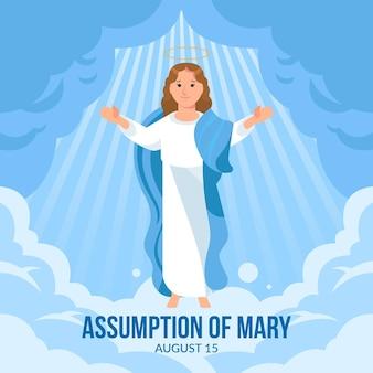 Flat assumption of mary illustration