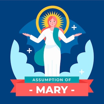 Assunzione piatta di maria illustrazione