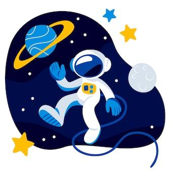 平らな宇宙飛行士のイラスト