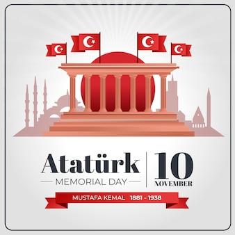 Fondo piatto del giorno della memoria di ataturk