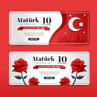 Set di banner orizzontali piatto ataturk memorial day