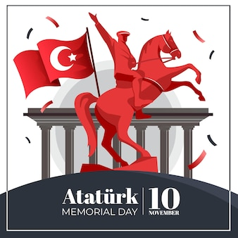 Flat ataturk memorial day illustration