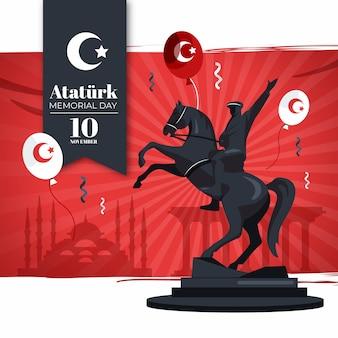 Illustrazione piatta del giorno della memoria di ataturk