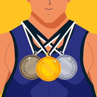 Flat athlete with different medals