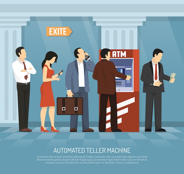 Flat atm money illustration
