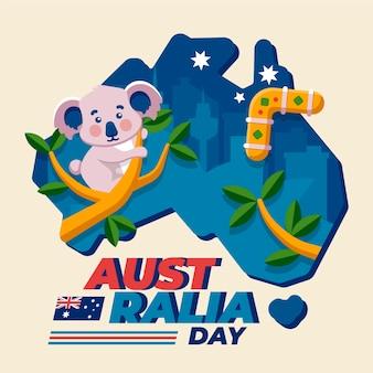 平らなオーストラリアの日とかわいいコアラ