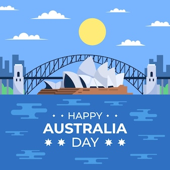 Flat australia day bridge illustration