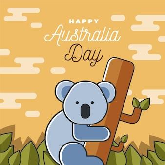 平らなオーストラリアの日のお祝いのコンセプト