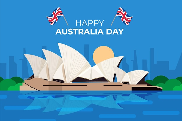 Flat australia day celebration with flag Free Vector