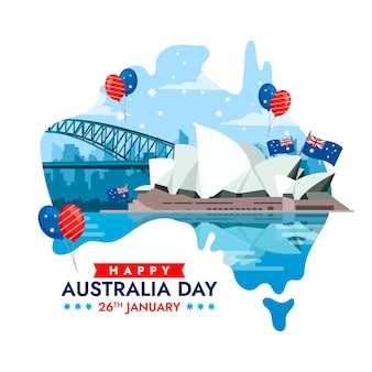 Flat australia day illustration Free Vector