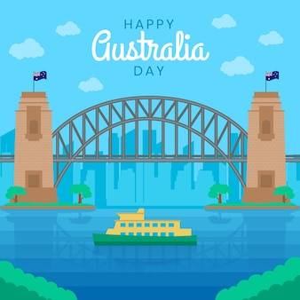 Flat australia day illustration