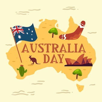 Flat australia day map illustration