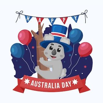 Flat australia day with adorable koala bear