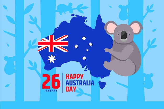 Flat australia day with australian map