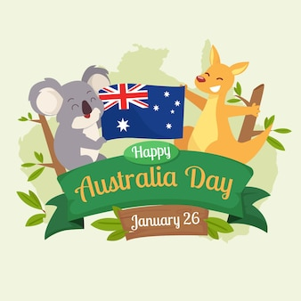 Flat australia day with cute animals