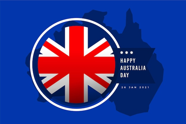 Flat australia day with flag Free Vector