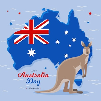 Плоский день австралии с кенгуру и картой