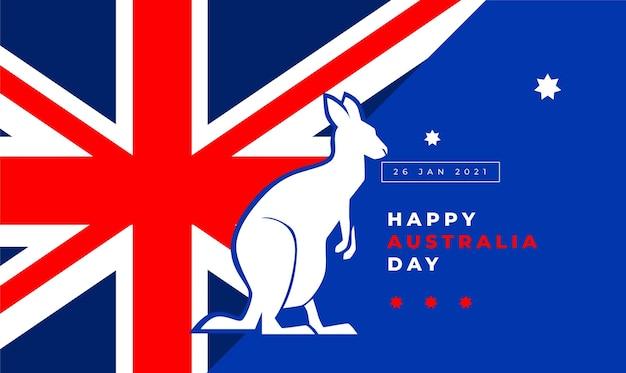 Flat australia day with kangaroo