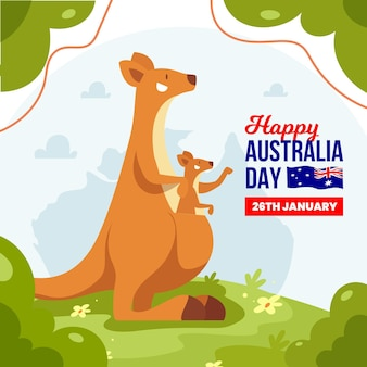 Flat australia day with kangaroos