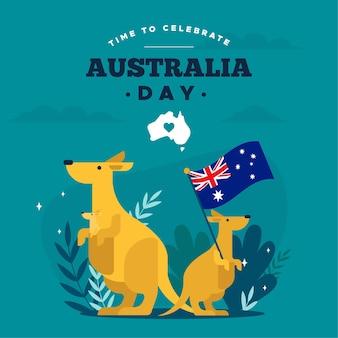 Flat australia day with kangaroos