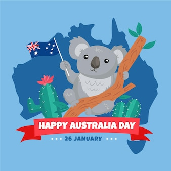 Flat australia day with koala bear