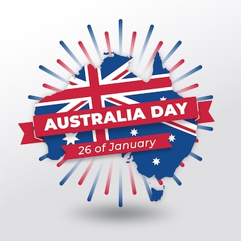 Flat australia day with map and date