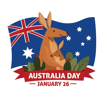フラットオーストラリア建国記念日イラスト